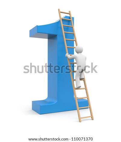 3d white man climb to success - stock photo