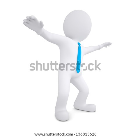 3d white man dances. Isolated render on a white background - stock photo