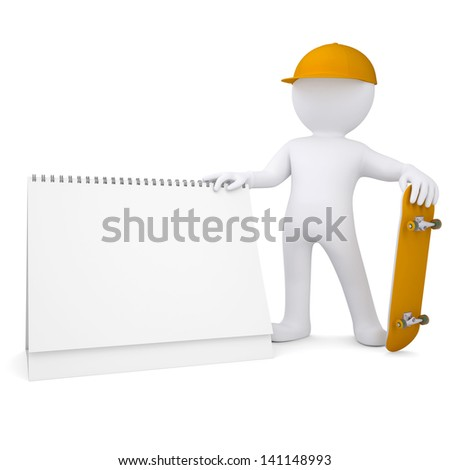 3d white man holding a skateboard and a calendar. Isolated render on a white background