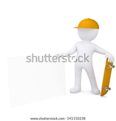 3d white man holding a skateboard and a white sheet. Isolated render on a white background