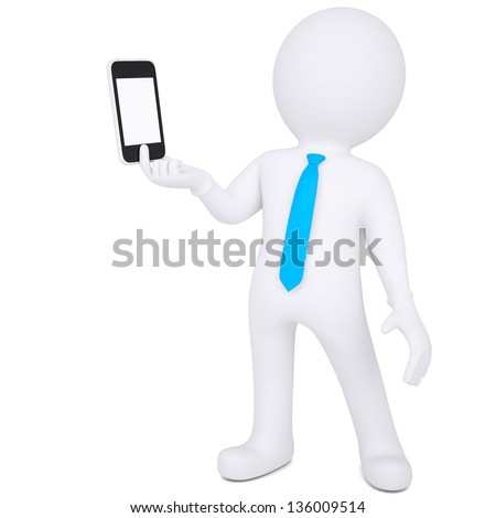 3d white man holding a smartphone. Isolated render on a white background - stock photo