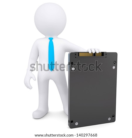 3d white man holding a solid state drive. Isolated render on a white background - stock photo