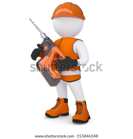 3d white man holding electric perforator. Isolated render on a white background