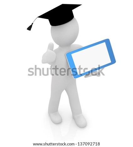 3d white man in a grad hat with thumb up and tablet pc - best gift a student - stock photo