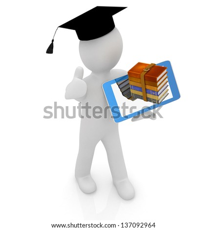 3d white man in a grad hat with thumb up,books and tablet pc - best gift a student - stock photo