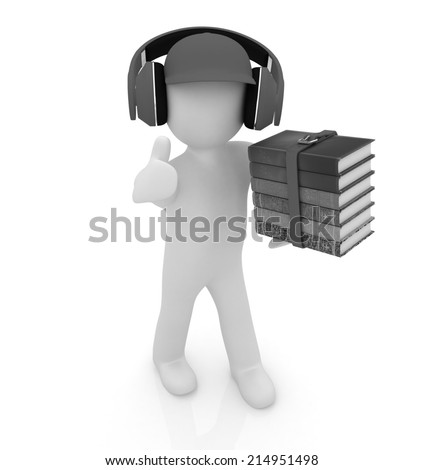 3d white man in a peaked cap with thumb up, books and headphones on a white background