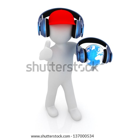 3d white man in a red peaked cap with thumb up, tablet pc and headphones. Global concept with blue earth - stock photo