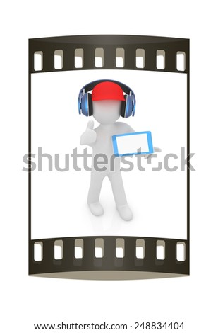3d white man in a red peaked cap with thumb up, tablet pc and headphones on a white background. The film strip - stock photo