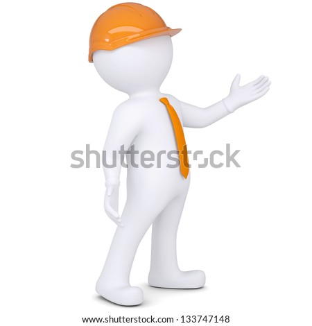3d white man in helmet points hand. Isolated render on a white background - stock photo