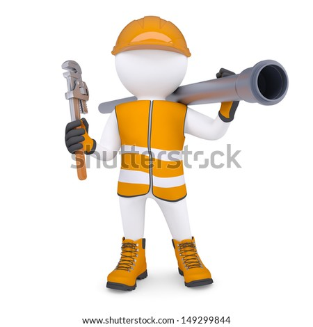 3d white man in overalls with a screwdriver and sewer pipe. Isolated render on a white background - stock photo
