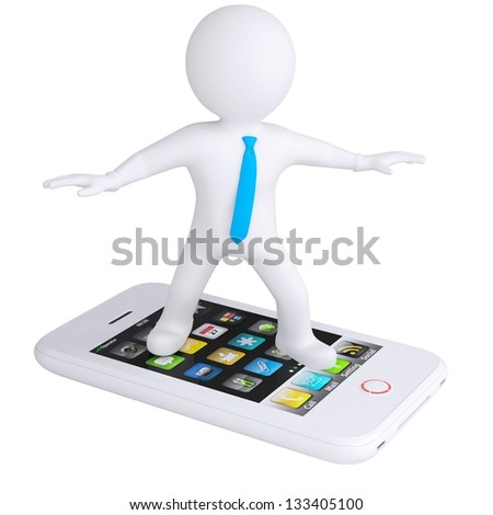 3d white man is on the phone. Isolated render on a white background - stock photo