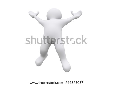 3d white man jumping, freedom with clipping path.