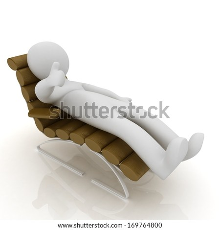 3d white man lying sofa bed brown genuine leather with thumb up isolated white background  - stock photo