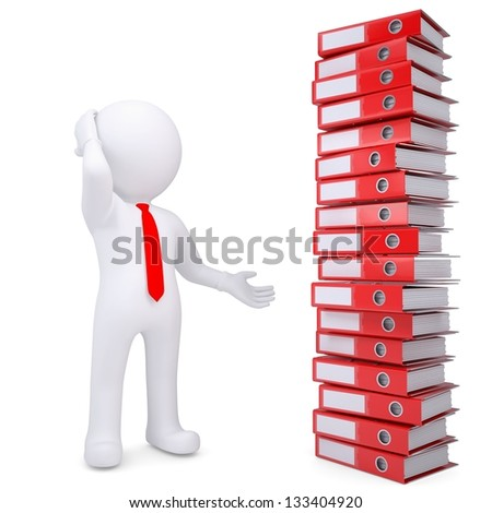 3d white man next to a stack of office folders. Isolated render on a white background - stock photo