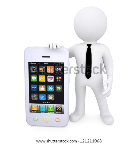 3d white man next to the smartphone. Isolated render on a white background - stock photo