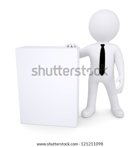 3d white man next to the white box. Isolated render on a white background