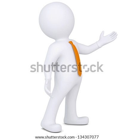 3d white man points hand. Isolated render on a white background