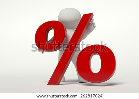 3d white man raises the percentage - stock photo