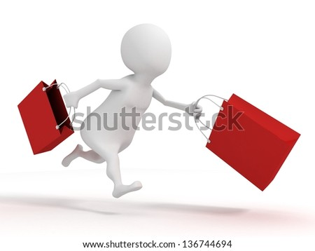 3d white man running with red shopping sale bags - stock photo