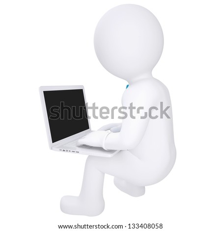 3d white man sitting with a laptop. Isolated render on a white background - stock photo