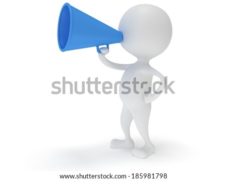 3d white man stand with blue megaphone isolated on white. People, teamwork, leader concept.
