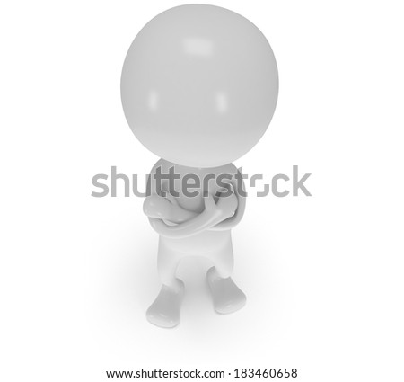 3d white man stand with folded arms. Render isolated on white. People, business concept.