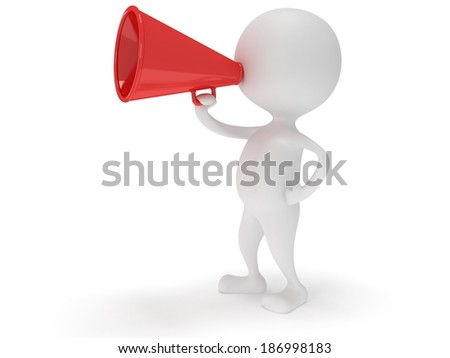 3d white man stand with red megaphone isolated on white. People, teamwork, leader concept.
