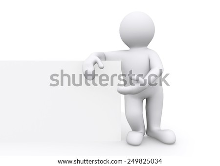 3d white man standing present blank billboard with clipping path.