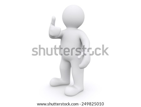 3d white man thump up, say yes with clipping path. - stock photo