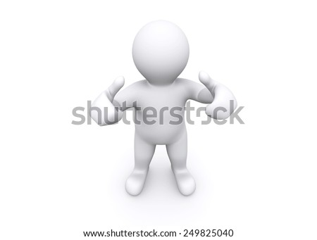 3d white man thump up, say yes with clipping path.