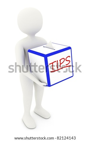 3d white man walking with ideas box, collecting tips