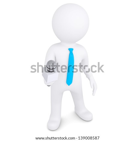 3d white man with a microphone. Isolated render on a white background