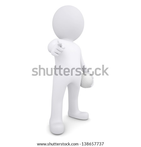 3d white man with a volleyball ball points his finger at the viewer. Isolated render on a white background
