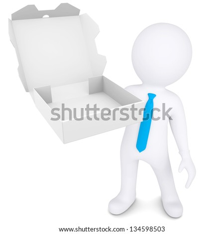 3d white man with an open box of a pizza. Isolated render on a white background