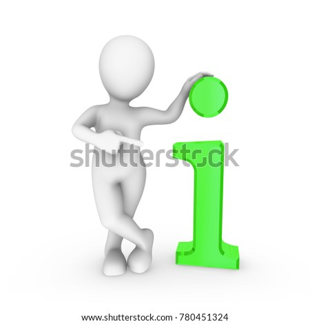 3d white man with big green info symbol