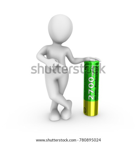 3d white man with green rechargeable battery