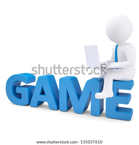 3d white man with laptop sitting on the word GAME. Isolated render on a white background