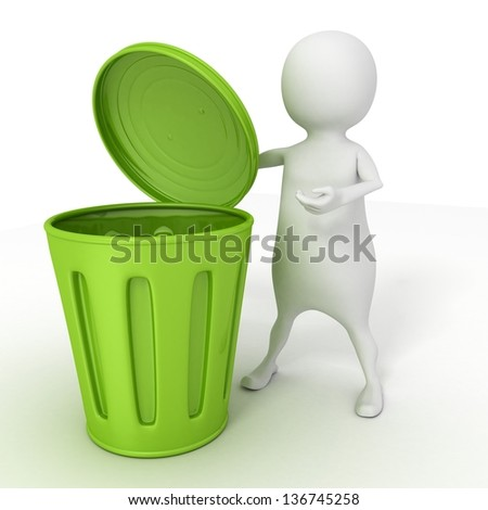 3d white man with opened green recycle trash can - stock photo