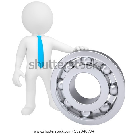 3d white man with the bearing. Isolated render on a white background