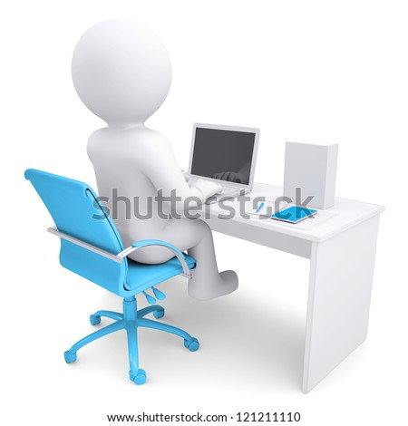 3d white man working at a laptop. On the table in a white box. Isolated render on a white background