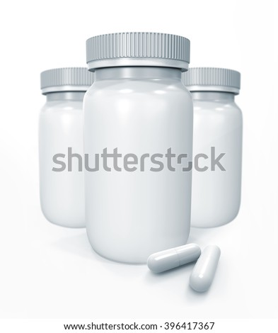 3D white medicine bottles and pills isolated on white.