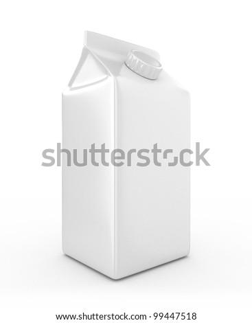3D White Milk Box - Isolated - stock photo