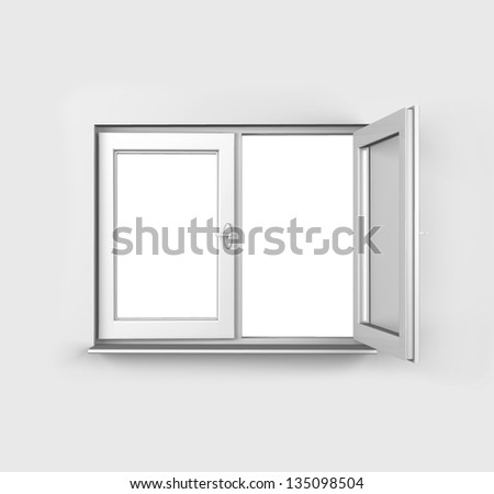 3d White opened window from inside