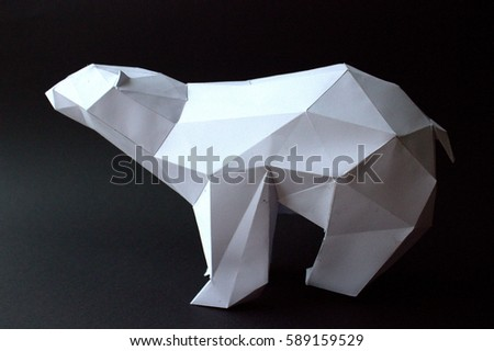 3d White Paper Bear On Black Background Left Side Horizontal Origami Toy