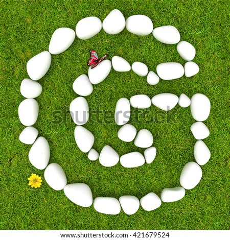 3d White pebble stone alphabet letter G on the green grass background