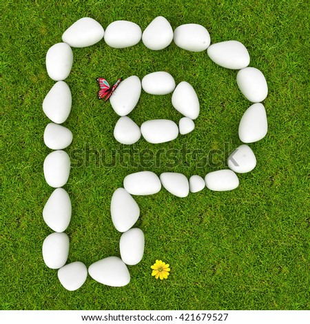 3d White pebble stone alphabet letter P on the green grass background