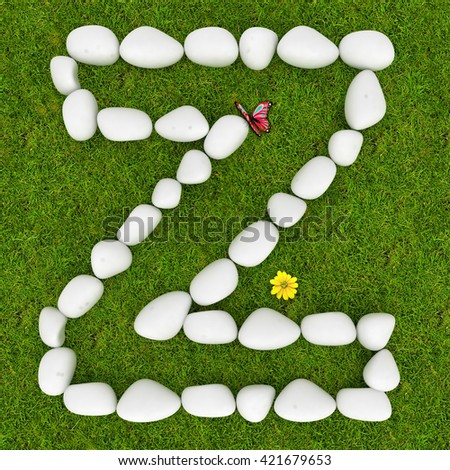 3d White pebble stone alphabet letter Z on the green grass background