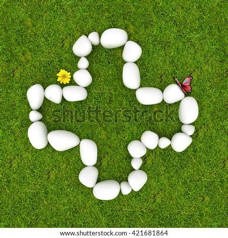 3d White pebble stone math symbols plus add on the green grass background - stock photo