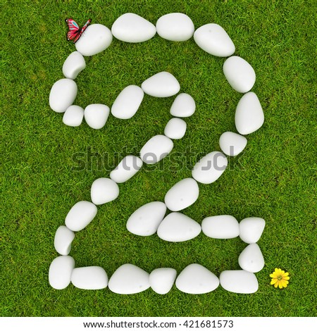 3d White pebble stone number two 2 on the green grass background