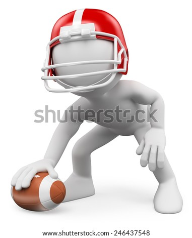 3d white people. American Football Player with ball. Rugby. Isolated white background. - stock photo